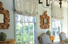 outside mount roman shades. Floral Outside Mount Roman Shades With Two Carved Mirrors Wooden Side Tables Rectangle Dining Table