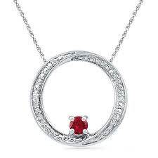 4 0mm lab created ruby and diamond accent swirl circle pendant in sterling silver