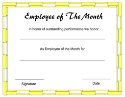 Printable Employee Of The Month Certificates Sample Employee Of The Month Certificate Kadil