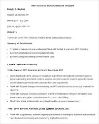 architect resume format resume free template bpo solutions architect resume template