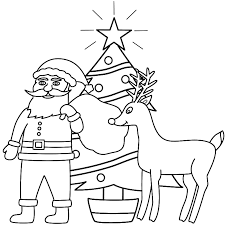 Santa Claus With Rudolph And A Christmas Tree Coloring Page
