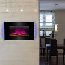 akdy 36 in wall mount electric fireplace heater in black with tempered glass pebbles