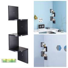 3 tier wall mount corner shelf floating shelves wood storage unit black incd vat