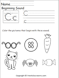 Letter c worksheets help children learn a new letter and practice reading skills. Free Beginning Sounds Worksheet Letter C Free4classrooms