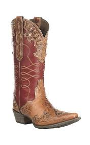 Ariat Womens Zealous Brown With Red Inlay Western Snip Toe