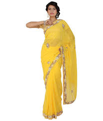 Cutdana Work Saree Designs Saree Palace Yellow Semi Chiffon Cutdana Work Saree Buy