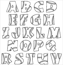 Printable Baseball Bubble Alphabet Letters