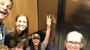 people stuck in elevator. school legend got stuck in an elevator at the notre dame game people