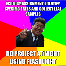 Ecology Assignment: Identify specific trees and collect leaf ... via Relatably.com