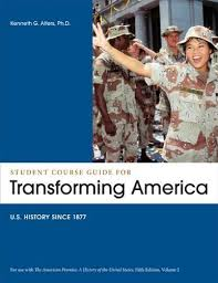 buy visions of america volume one to a history of the student course guide transforming america to accompany the american promise volume 2 us history since 1877 5th fifth edition by roark james l
