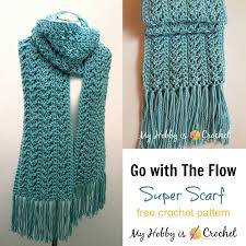 Double Crochet Scarf Patterns Stunning My Hobby Is Crochet Go With The Flow Super Scarf Free Crochet