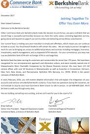 berkshire bank customer service joint letter to our commerce bank customers berkshirebank com