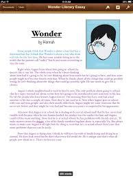 wonder literary essay by hannah thinglink