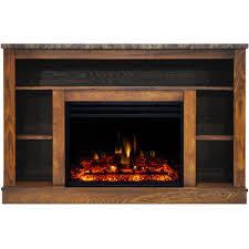 cambridge seville electric fireplace heater with 47 in walnut tv stand enhanced log display multi color flames and remote control cam5021 1wallg3