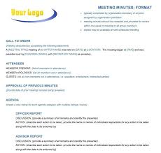 Writing Meeting Notes Sample Minutes Format Template For A