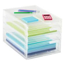 desk drawer paper organizer. Wonderful Paper 4Drawer Desktop Paper Organizer Inside Desk Drawer The Container Store