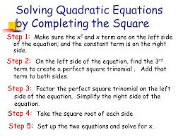 5 solving quadratic equations by completing