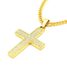 gold cross pendant mens cross necklace cross pendant necklace trendy golden flat chain bling iced out