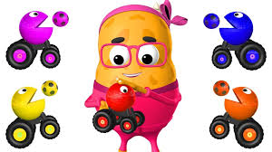 Learn Colors for Children with Pacman Toy Cars Color Soccer Balls ...
