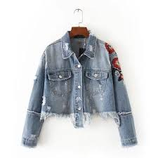 Future Time Women Jeans Jacket Flower Embroidered