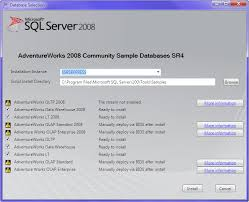 lesson installing sample databases adventure works ssrs  step 1 install your ed database sql server 2008 sample databases by choosing the correct instance
