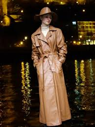 higgs leathers kathy las tan leather db trench coat
