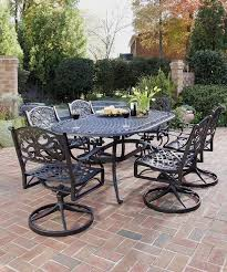 furniture black wrought iron patio furniture with 6 swivel patio chairs and curevd patio table black iron outdoor furniture