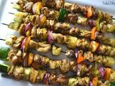 andouille and chicken kabobs with creole mustard