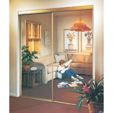 image mirrored sliding. erias 71in x 8012in mirrored sliding doors with aztec gold frame image