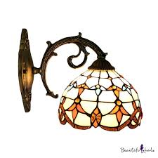 dome wall sconce victorian tiffany style stained glass wall light in multicolor for bungalow corridor