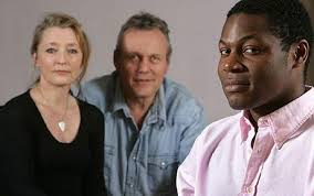 Lesley Manville, Anthony Head and Obi Abili, stars of Six Degrees of Separation Photo: MARTIN POPE - six-degrees-of-sep_1548913c