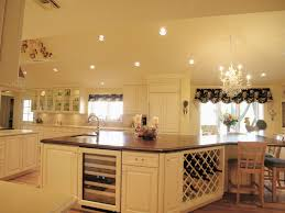 Kitchen:Exquisite French Country Kitchen Decor Plus Chrome Hanging Lamp  Over Double Island Also Marble