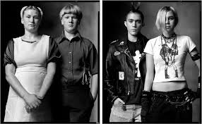 portrait diptychs showing the differences and similarities between  motorcycle gang and altar boys amish teenagers and punk teenagers
