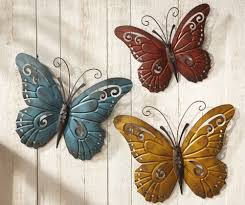amazon com nature inspired metal butterfly wall art trio iron tree hanging set of fence  on outdoor metal wall hanging with art metal wall hanging art sun rawhide metal wall art small sun