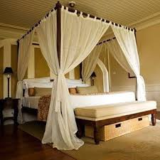 Elegant Beige Canopy Bed Curtain