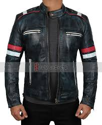 blue red and white stripe leather jacket