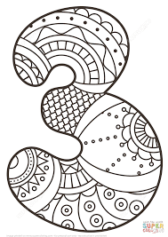 Small Picture Number 3 Coloring Page Number 3 Coloring Pages Tryonshorts Line
