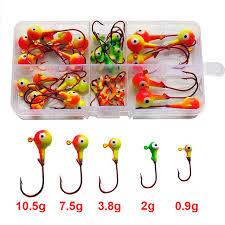 46pcs Multicolor <b>3D</b> Fish <b>Eyes</b> Jig Head Fishing Hooks High Carbon ...