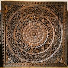 large carved wood panel teak wood wall hanging decorative balinese lotus flower oriental on tiki wood wall art with large carved wood panel teak wood wall from siamsawadee on etsy