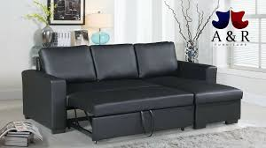 convertible sectional sofa bed. Interesting Sectional Black Faux Leather Convertible Sectional Sofa Bed For