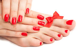 bigstock red manicure and pedicure with 43476634