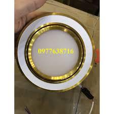 Đèn led âm trần 7w phi 90 3 màu viền vàng đế đúc tản nhiệt tại Bắc Ninh