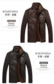 winter men s warm genuine leather fur lining jacket coat outwear trench padded