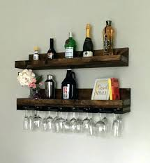 wine rack shelf long rustic wood hanging stemware glass holder organizer bar floating wall with sh