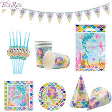 FENGRISE Tableware Set Mermaid Party Supplies For Kids Happy Birthday Theme Banner Cups Paper Plates str