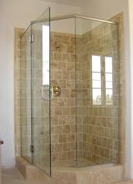 corner shower stall for small bathroom features swinging glass door and tiled wall 16 inspiring