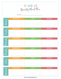 Free Printable Monthly Meal Planner Template Weekly With