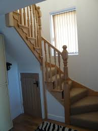 Classy Winder Staircase Design Represents with Rustic Looks : Natural Wood  Winder Staircase Design Wooden Railing