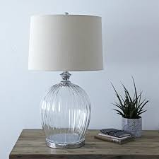 glass base table lamps large glass table lamp with ribbed glass base and natural linen drum