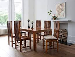perfect dining table for 6 lifeestyle handcrafted sheesham wood seater set honey um amazon in electronic